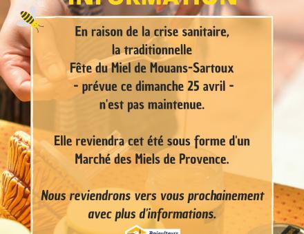 Fête du miel de Mouans-Sartoux reportée